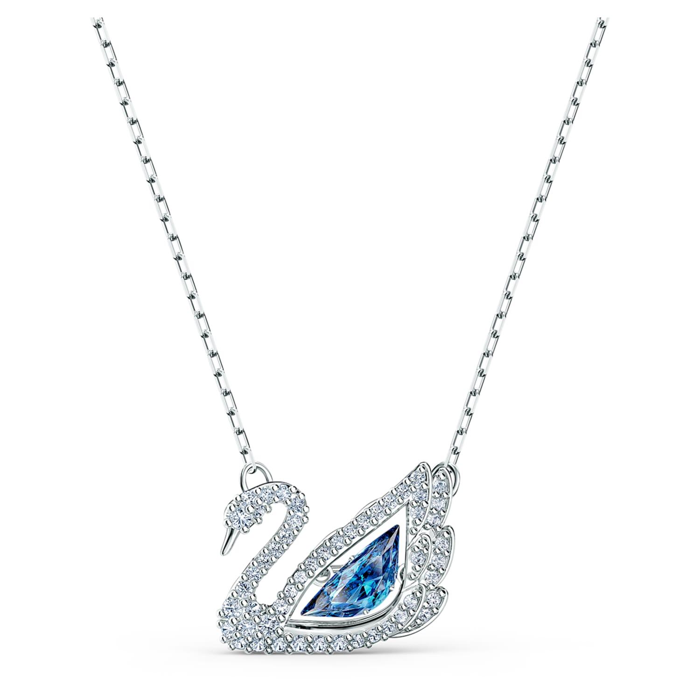 Collier Dancing Swan, bleu, métal rhodié