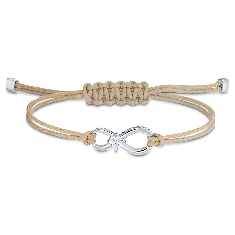 Bracelet Swarovski Infinity, beige, métal rhodié