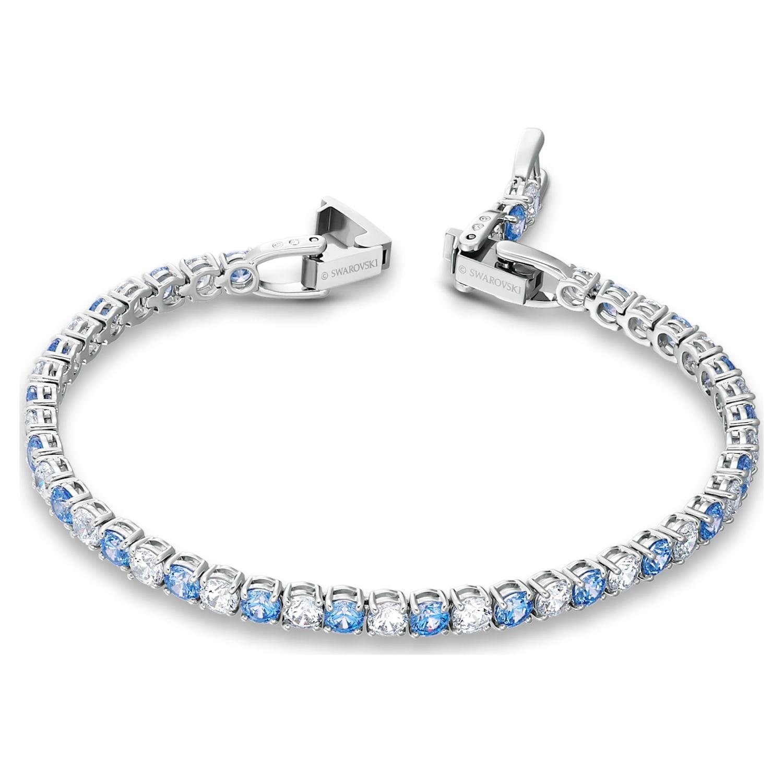 Tennis Deluxe Bracelet, Blue, Rhodium plated