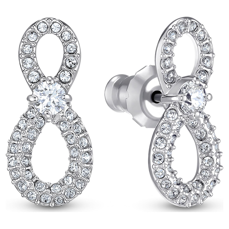 Parure Swarovski Infinity, blanc, métal rhodié