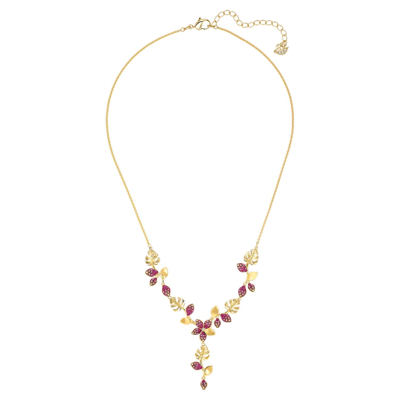 Collier en Y Tropical Flower, rose, métal doré