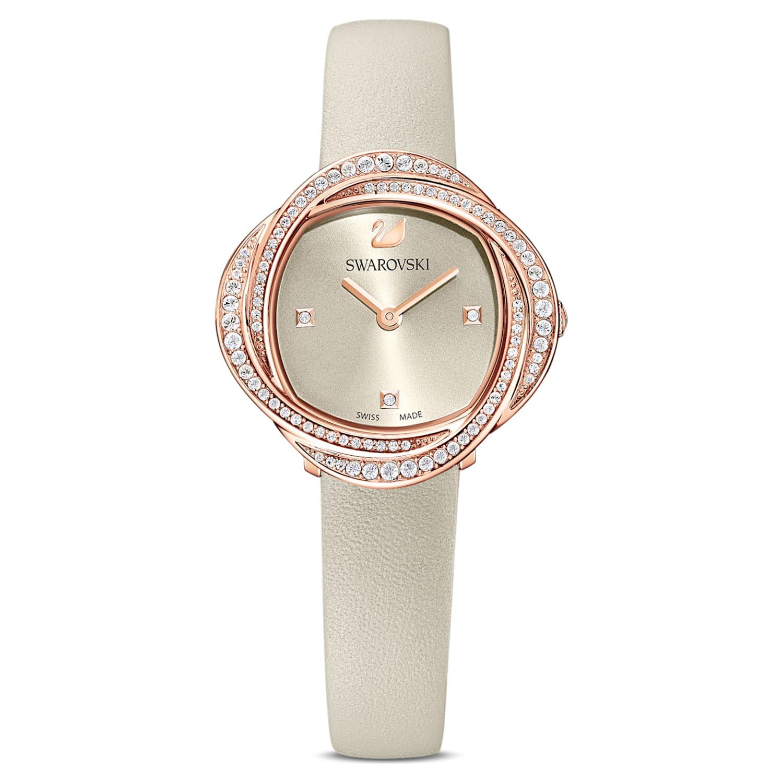 Montre Crystal Flower, bracelet en cuir, gris, PVD doré rose