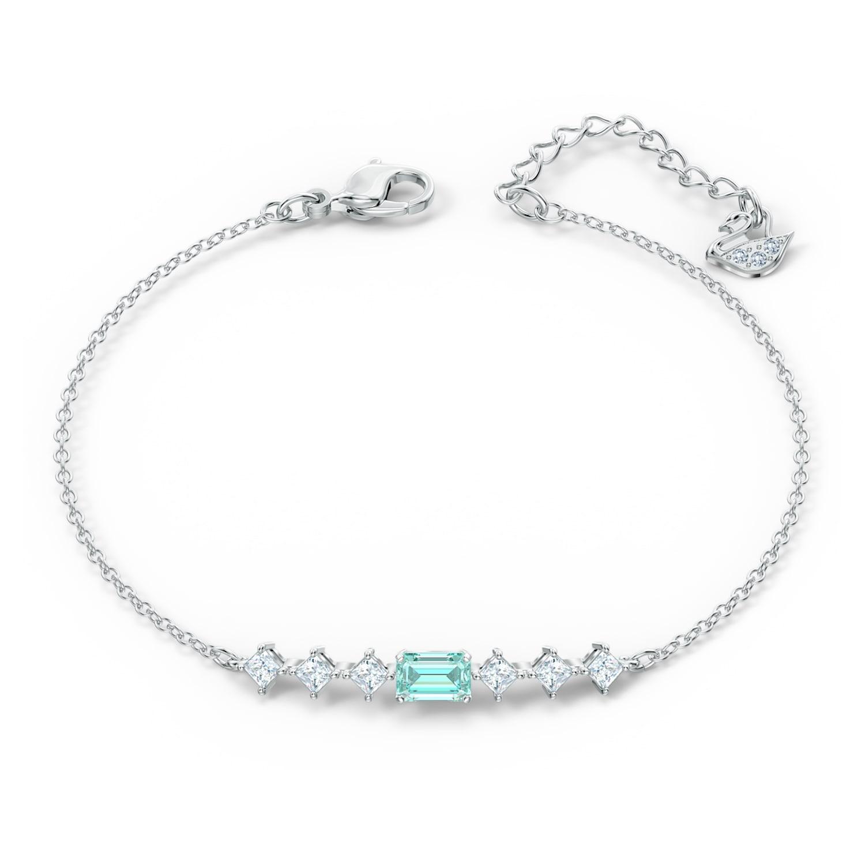 Bracelet Attract Rectangular, vert, métal rhodié