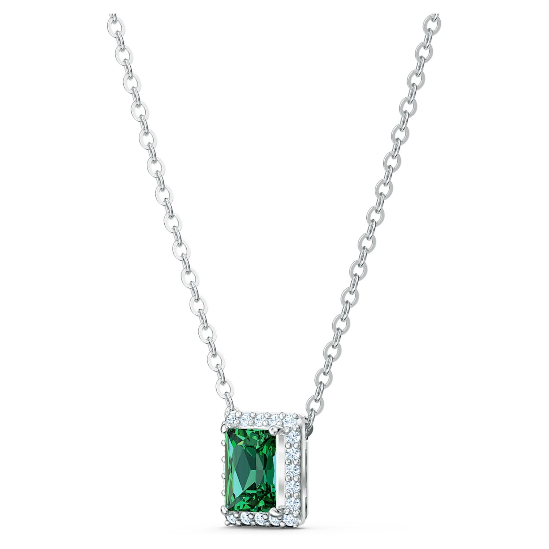Collier Angelic Rectangular, vert, métal rhodié   Swarovski.com