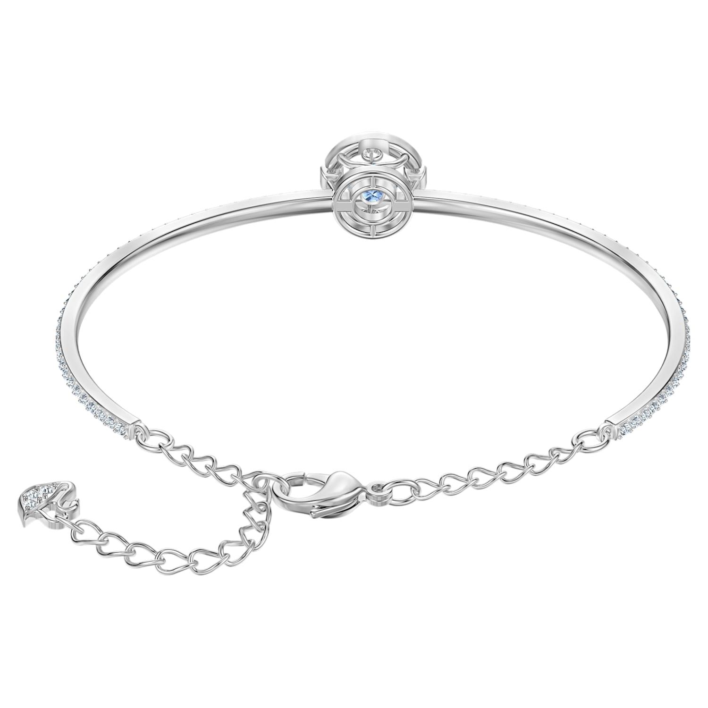 Bracelet-jonc Swarovski Sparkling Dance, bleu, Métal rhodié