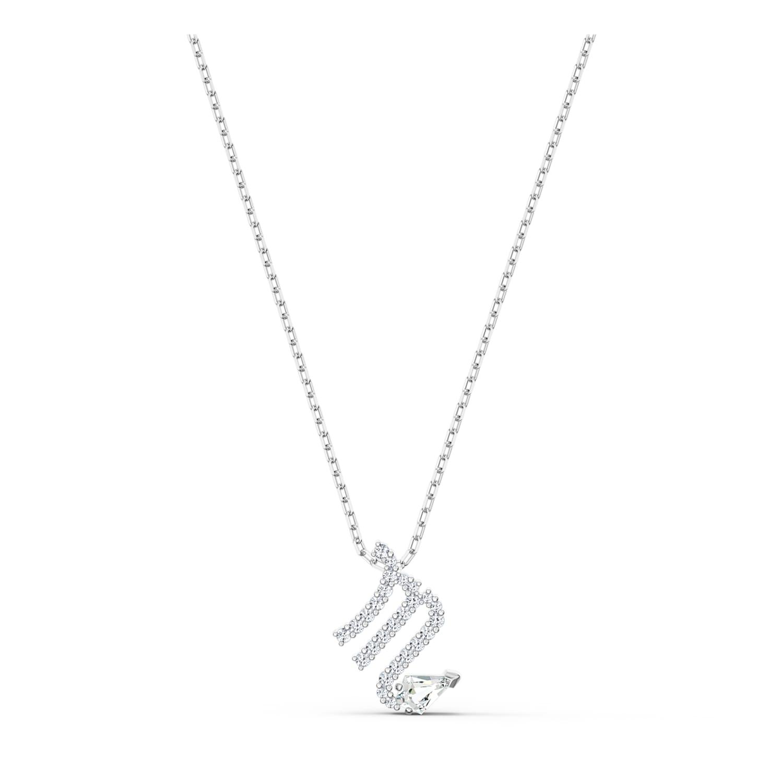 Pendentif Zodiac II, Scorpion, blanc, finition mix de métal