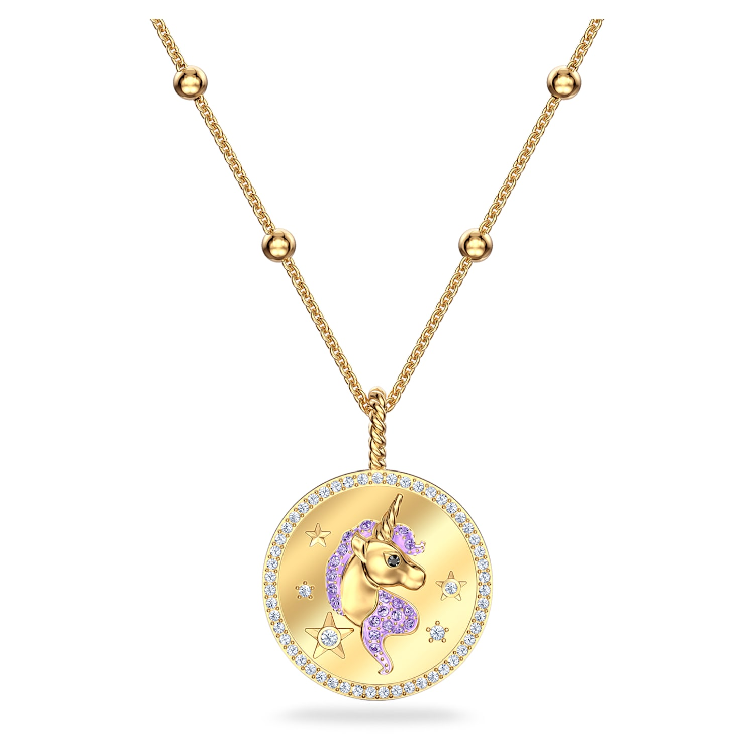 Necklace gold unicorn meadow green dark green pink peach apricot