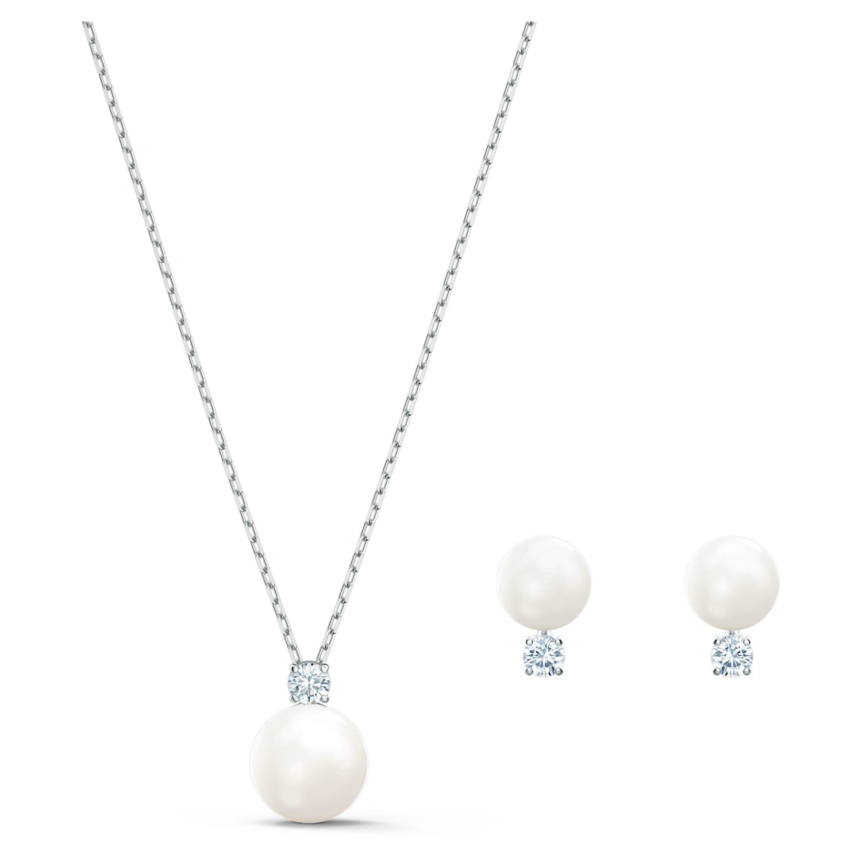 Parure Treasure Pearl, blanc, métal rhodié