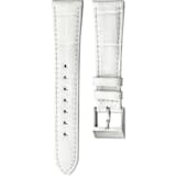 18mm Watch strap, Leather with stitching, White, Stainless Steel - Swarovski, 5222593