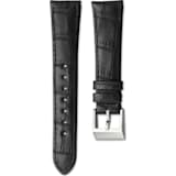 14mm Watch strap, Leather with stitching, Dark brown, Stainless Steel - Swarovski, 5263534