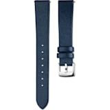 16mm Watch strap, Leather, Blue, Stainless steel - Swarovski, 5302283