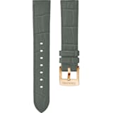 20mm Watch strap, Leather with stitching, Grey, Rose-gold tone plated - Swarovski, 5371983