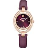 Stella 腕表, 真皮表带, 深红色, 玫瑰金色调 PVD - Swarovski, 5376839