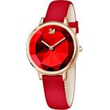 Crystal Lake 腕表, 真皮表带, 红色, 玫瑰金色调 PVD - Swarovski, 5415999