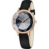 Crystal Lake 腕表, 真皮表带, 黑色, 玫瑰金色调 PVD - Swarovski, 5416009
