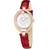 Stella 腕表, 真皮表带, 红色, 玫瑰金色调 PVD - Swarovski, 5421822