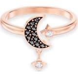 Swarovski Symbolic Moon 戒指图案, 黑色, 镀玫瑰金色调 - Swarovski, 5429735