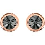 Round 袖扣, 灰色, 镀玫瑰金色调 - Swarovski, 5429900