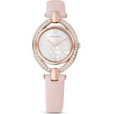 Stella 腕表, 真皮表带, 粉红色, 玫瑰金色调 PVD - Swarovski, 5452507