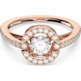 Swarovski Sparkling Dance Round 戒指, 白色, 镀玫瑰金色调 - Swarovski, 5479934