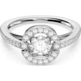 Swarovski Sparkling Dance Round 戒指, 白色, 镀铑 - Swarovski, 5482513
