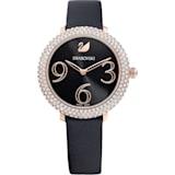 Crystal Frost 腕表, 真皮表带, 黑色, 玫瑰金色调 PVD - Swarovski, 5484058