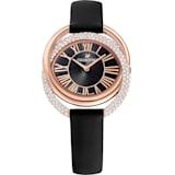 Duo 腕表, 真皮表带, 黑色, 玫瑰金色调 PVD - Swarovski, 5484373