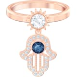Swarovski Symbolic 戒指图案, 蓝色, 镀玫瑰金色调 - Swarovski, 5510068