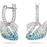 Swarovski Iconic Swan 穿孔耳环, 彩色设计, 镀铑 - Swarovski, 5512577