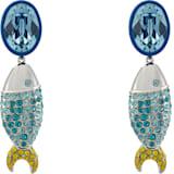 Mustique Sea Life Fish 夹式耳环, 蓝色, 镀钯 - Swarovski, 5533738