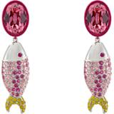 Boucles d'oreilles clip Mustique Sea Life Fish, rose, métal plaqué palladium - Swarovski, 5533745