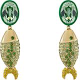 Mustique Sea Life Fish 夹式耳环, 绿色, 镀金色调 - Swarovski, 5533747