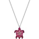 Mustique Sea Life Turtle Pendant, Small, Pink, Palladium plated - Swarovski, 5533751