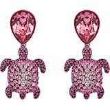 Pendientes de clip Mustique Sea Life Turtle, rosa, baño de paladio - Swarovski, 5533755