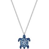 Mustique Sea Life Turtle 鏈墜, 細碼, 藍色, 鍍鈀色 - Swarovski, 5533756