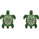 Mustique Sea Life Turtle 穿孔耳環, 綠色, 鍍金色色調 - Swarovski, 5533757