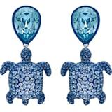 Mustique Sea Life Turtle 夹式耳环, 蓝色, 镀钯 - Swarovski, 5533760