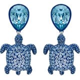 Mustique Sea Life Turtle Clip Earrings, Blue, Palladium plated - Swarovski, 5533760