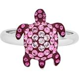 Anillo Mustique Sea Life Turtle, pequeño, rosa, baño de paladio - Swarovski, 5533765