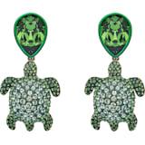 Mustique Sea Life Turtle 夹式耳环, 绿色, 镀金色调 - Swarovski, 5533766