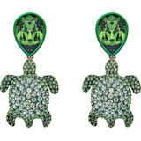 Mustique Sea Life Turtle 穿孔耳環, 綠色, 鍍金色色調 - Swarovski, 5533766