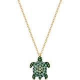 Pendente Mustique Sea Life Turtle, piccolo, verde, placcato color oro - Swarovski, 5534341