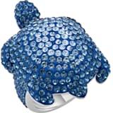 Mustique Sea Life Turtle gyűrű, nagy, kék, palládium bevonattal - Swarovski, 5535424