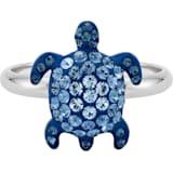 Anillo Mustique Sea Life Turtle, pequeño, azul, baño de paladio - Swarovski, 5535429