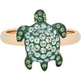 Anillo Mustique Sea Life Turtle, pequeño, verde, baño tono oro - Swarovski, 5535434