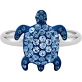 Mustique Sea Life Turtle 戒指, 細碼, 藍色, 鍍鈀色 - Swarovski, 5535436