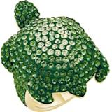 Anillo Mustique Sea Life Turtle, grande, verde, baño tono oro - Swarovski, 5535552