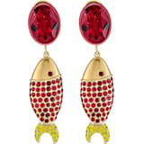 Mustique Sea Life Fish Pierced Earrings, Red, Gold-tone plated - Swarovski, 5536002