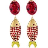 Boucles d'oreilles Mustique Sea Life Fish, rouge, métal doré - Swarovski, 5536002