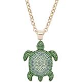Mustique Sea Life Turtle 链坠, 大码, 绿色, 镀金色调 - Swarovski, 5538454
